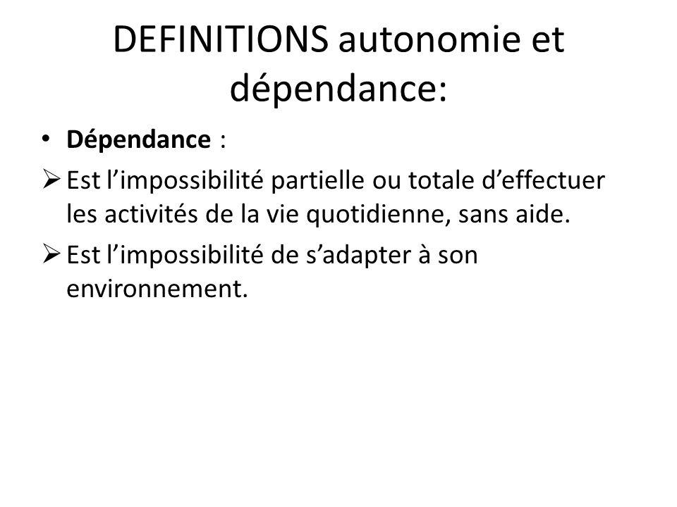 DEFINITIONS autonomie et dépendance: