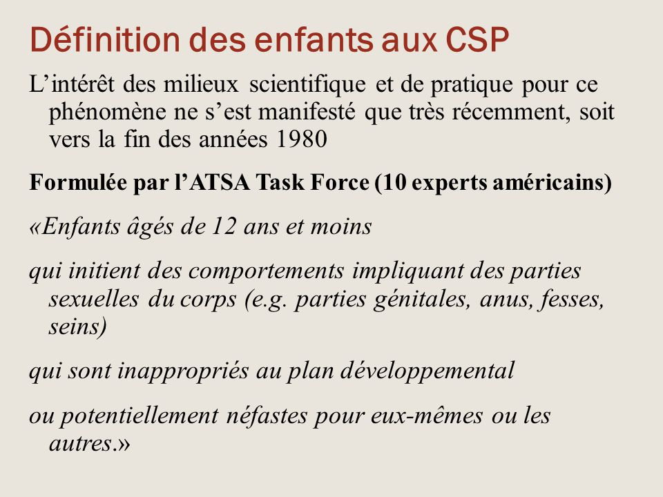 Définition des enfants aux CSP