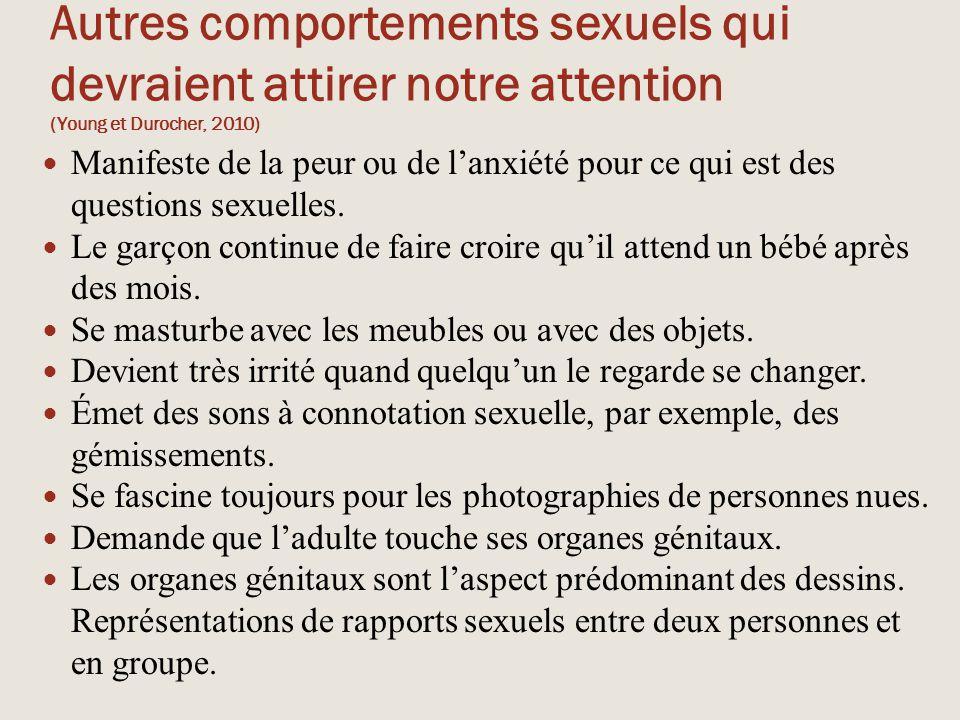 Autres comportements sexuels qui devraient attirer notre attention (Young et Durocher, 2010)
