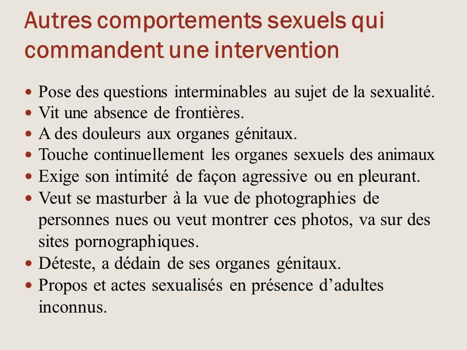Autres comportements sexuels qui commandent une intervention
