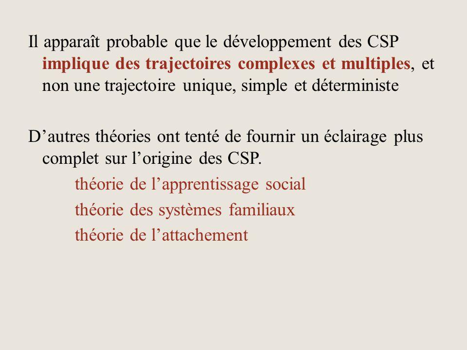Il apparaît probable que le développement des CSP implique des trajectoires complexes et multiples, et non une trajectoire unique, simple et déterministe D'autres théories ont tenté de fournir un éclairage plus complet sur l'origine des CSP. théorie de l'apprentissage social théorie des systèmes familiaux théorie de l'attachement