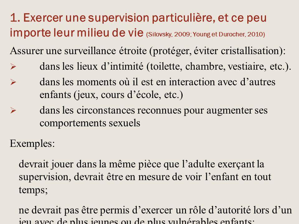 1. Exercer une supervision particulière, et ce peu importe leur milieu de vie (Silovsky, 2009; Young et Durocher, 2010)