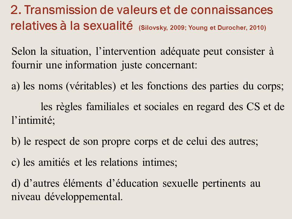 2. Transmission de valeurs et de connaissances relatives à la sexualité (Silovsky, 2009; Young et Durocher, 2010)