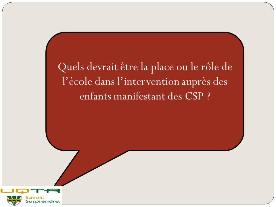 Quels devrait être la place ou le rôle de l'école dans l'intervention auprès des enfants manifestant des CSP