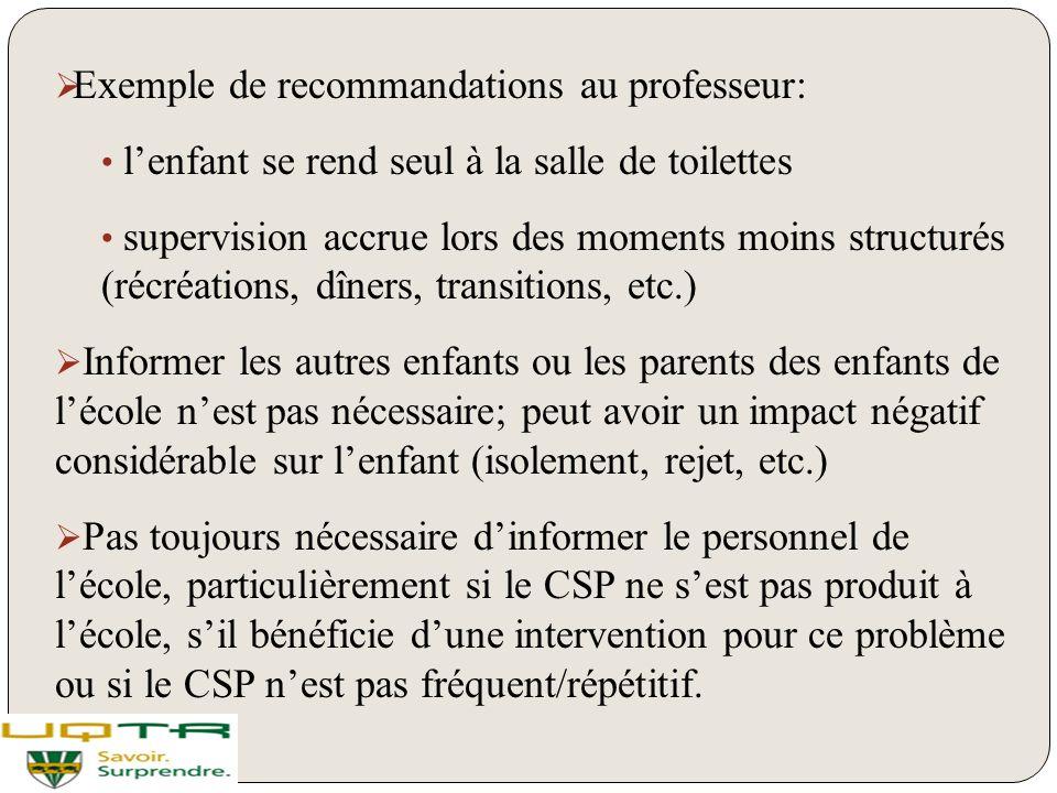 Exemple de recommandations au professeur: