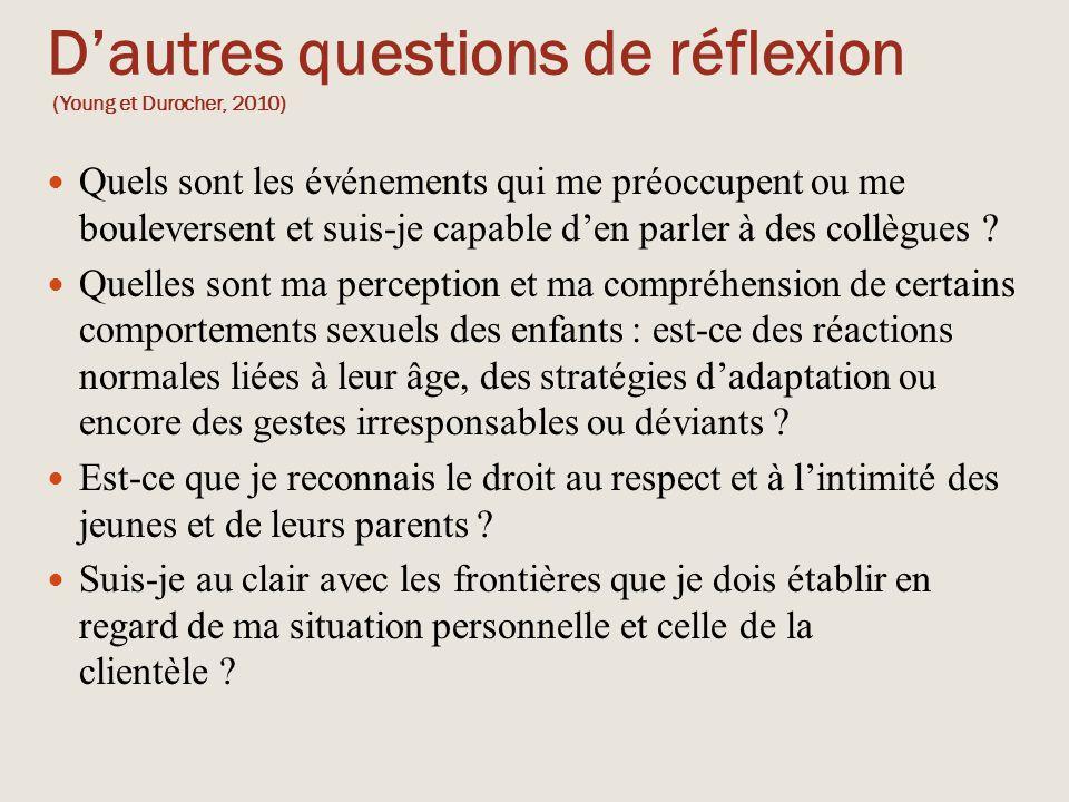 D'autres questions de réflexion (Young et Durocher, 2010)