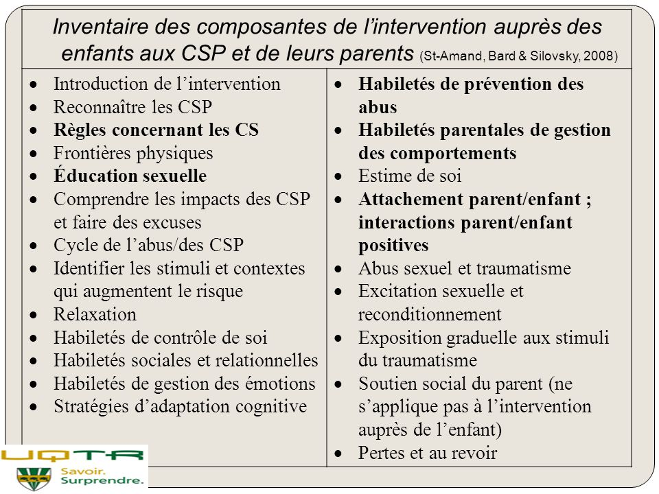 Inventaire des composantes de l'intervention auprès des enfants aux CSP et de leurs parents (St-Amand, Bard & Silovsky, 2008)