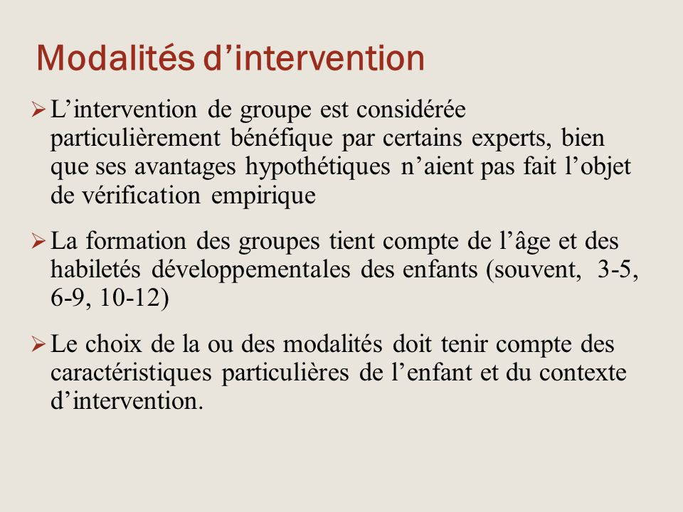 Modalités d'intervention