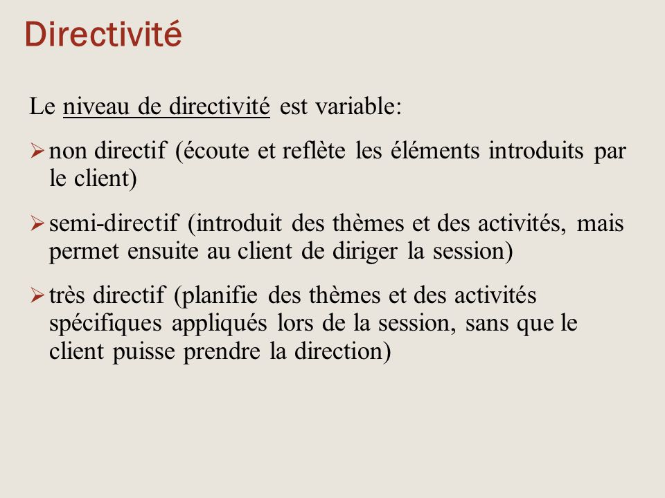 Directivité Le niveau de directivité est variable: