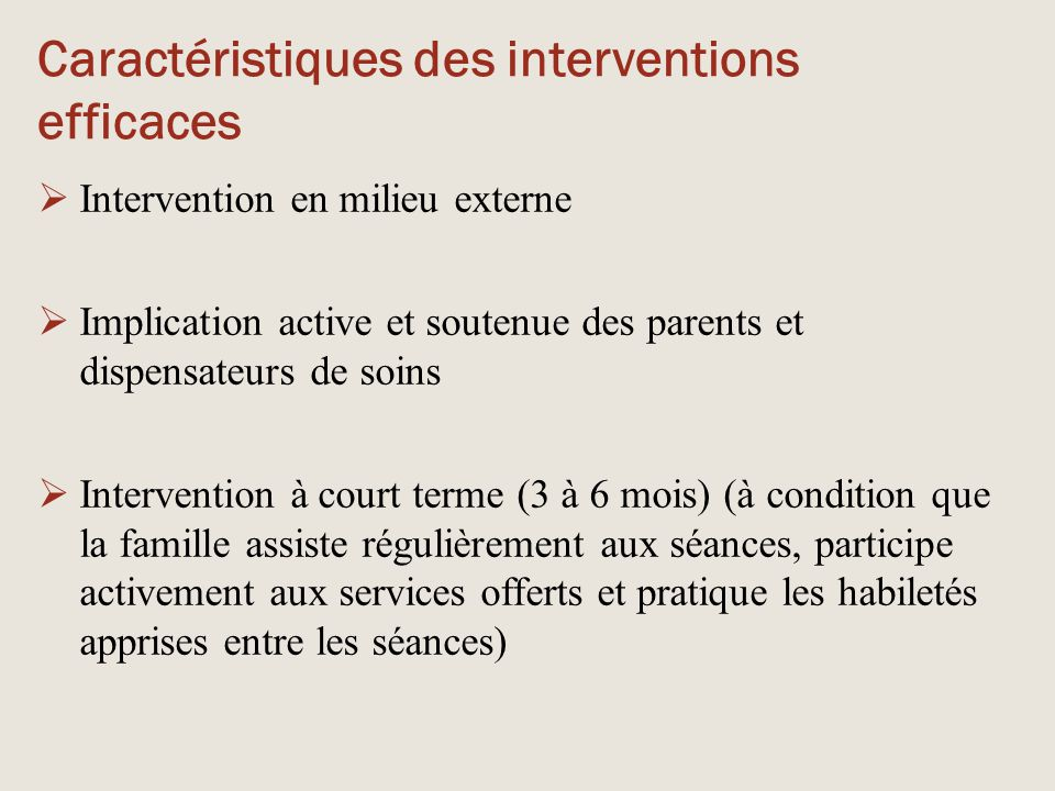 Caractéristiques des interventions efficaces