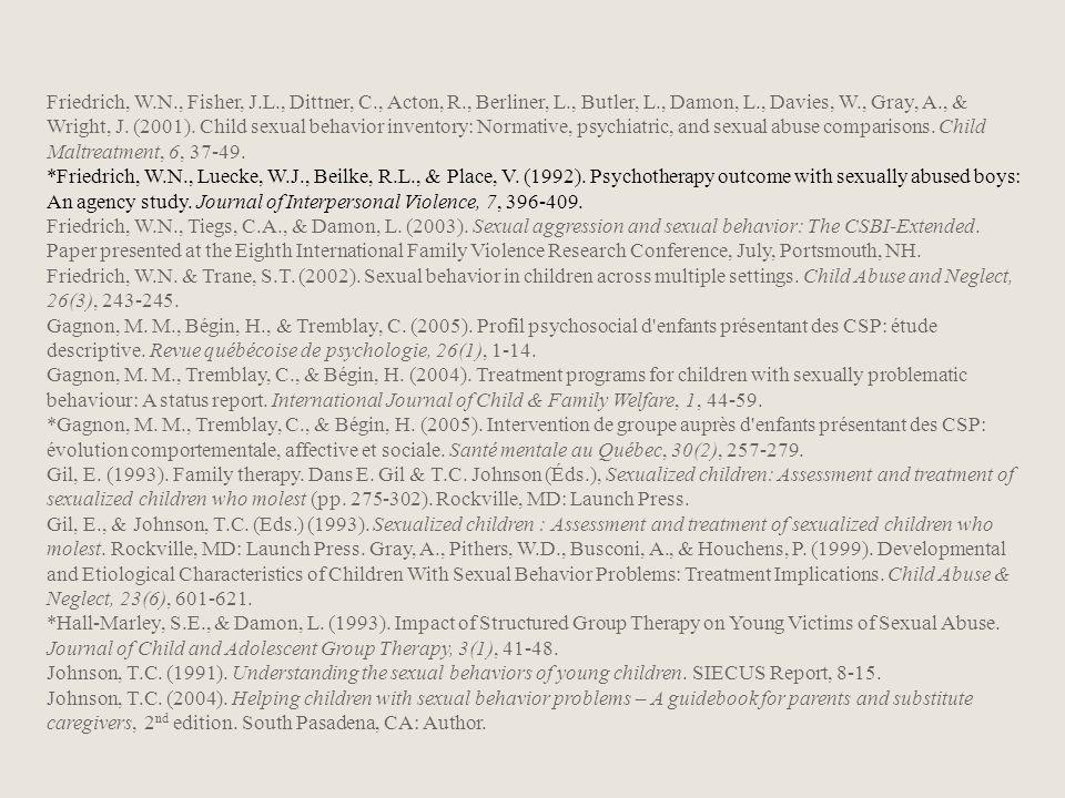 Friedrich, W. N. , Fisher, J. L. , Dittner, C. , Acton, R