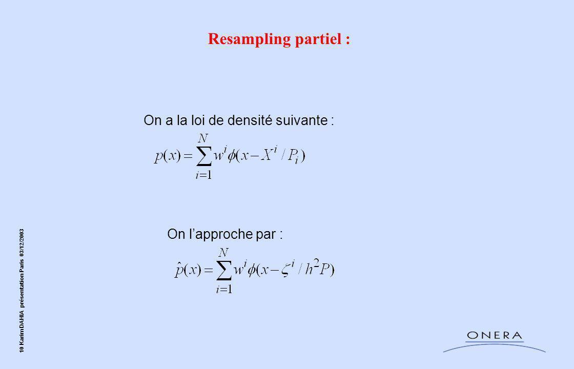 Resampling partiel : On a la loi de densité suivante :