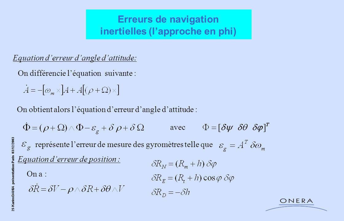 Erreurs de navigation inertielles (l'approche en phi)