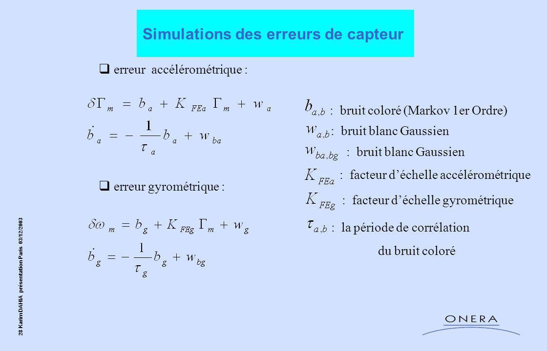 Simulations des erreurs de capteur