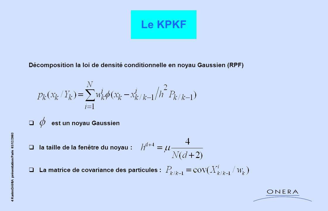 Le KPKF Décomposition la loi de densité conditionnelle en noyau Gaussien (RPF) est un noyau Gaussien.