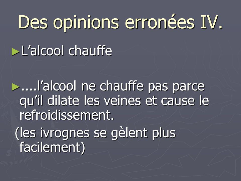 Des opinions erronées IV.