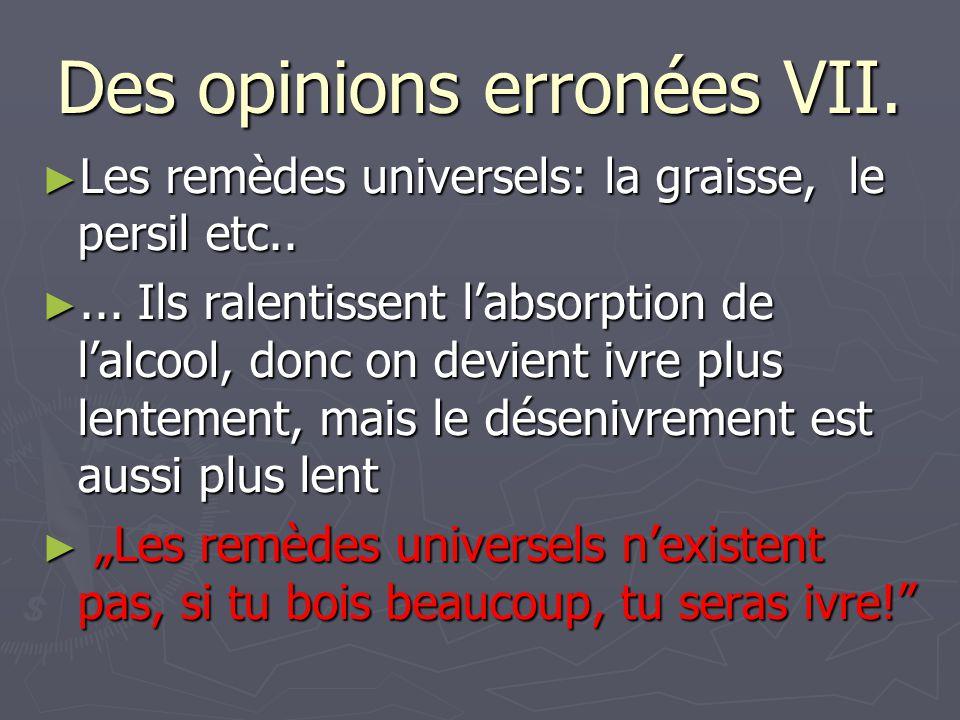 Des opinions erronées VII.