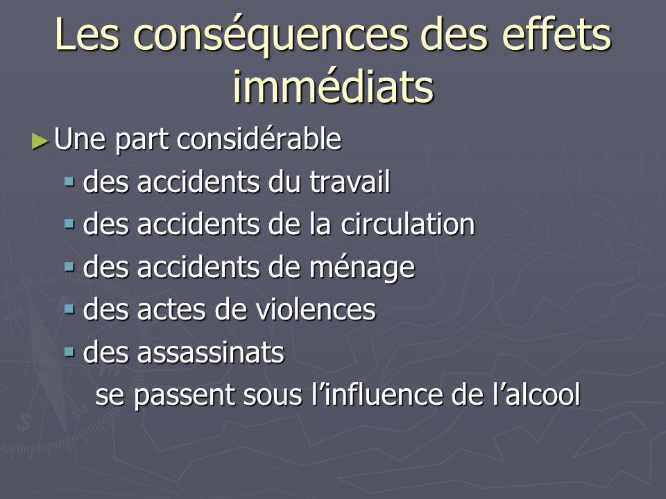 Les conséquences des effets immédiats