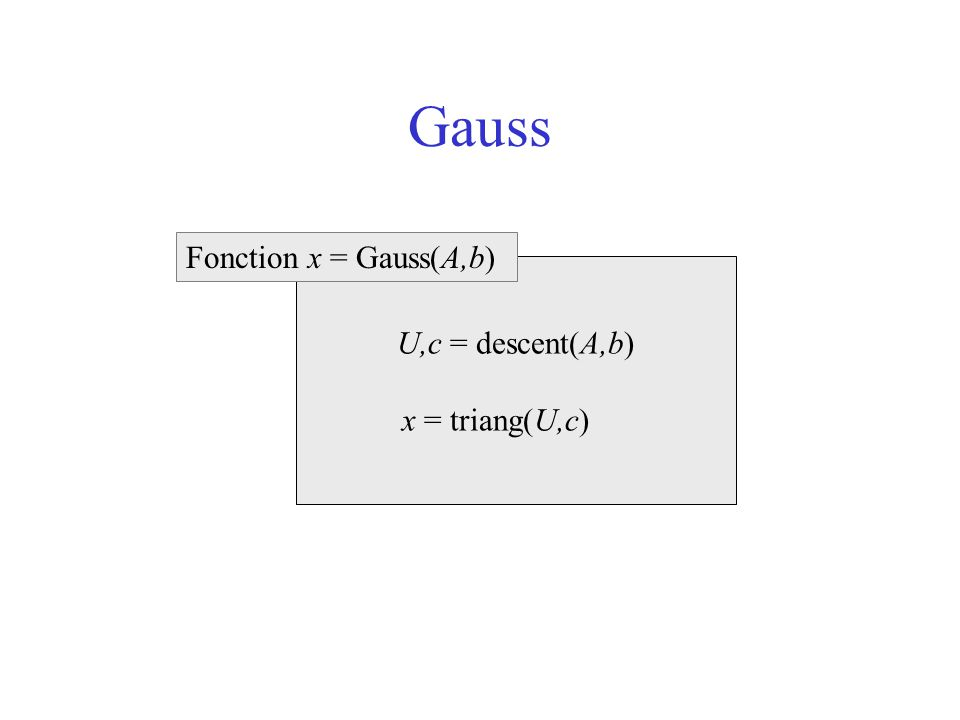 Gauss Fonction x = Gauss(A,b) U,c = descent(A,b) x = triang(U,c)