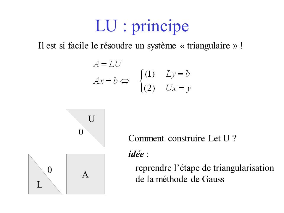 LU : principe Il est si facile le résoudre un système « triangulaire » ! U. Comment construire Let U
