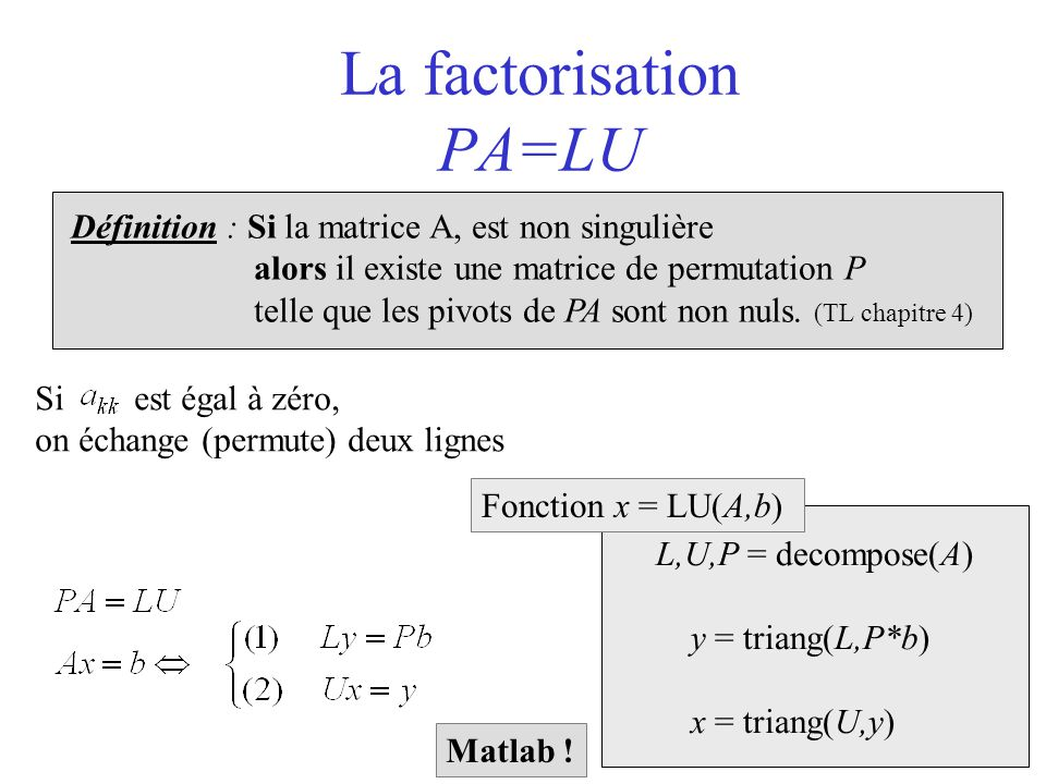 La factorisation PA=LU