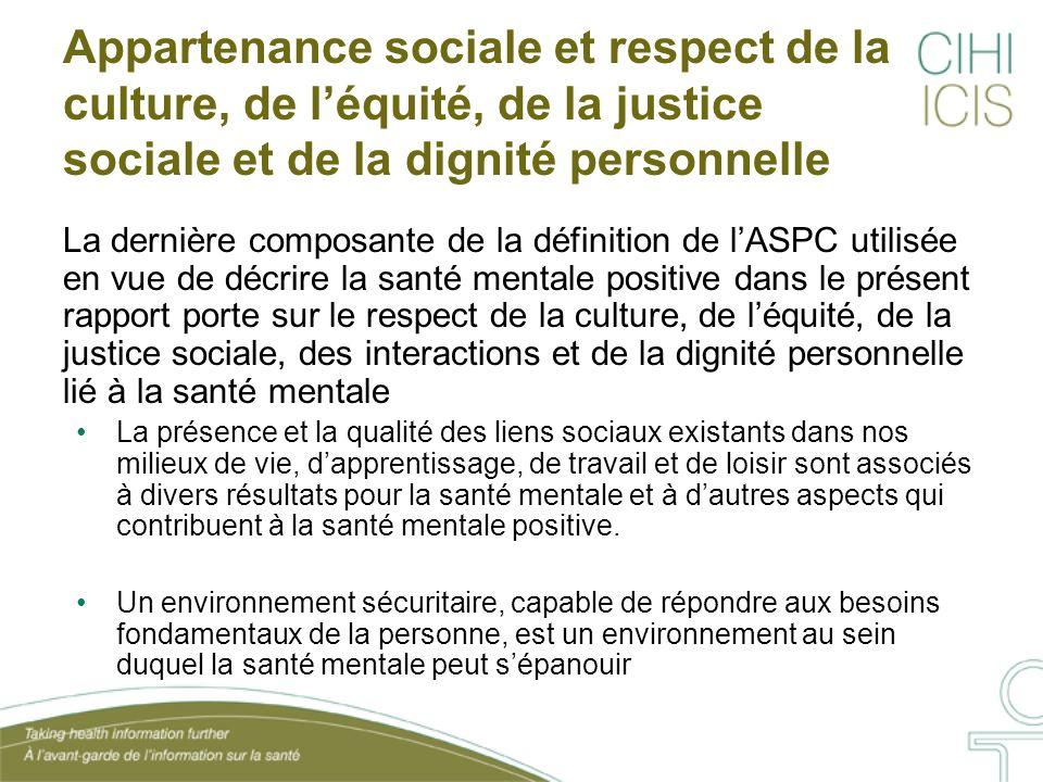 Appartenance sociale et respect de la culture, de l'équité, de la justice sociale et de la dignité personnelle