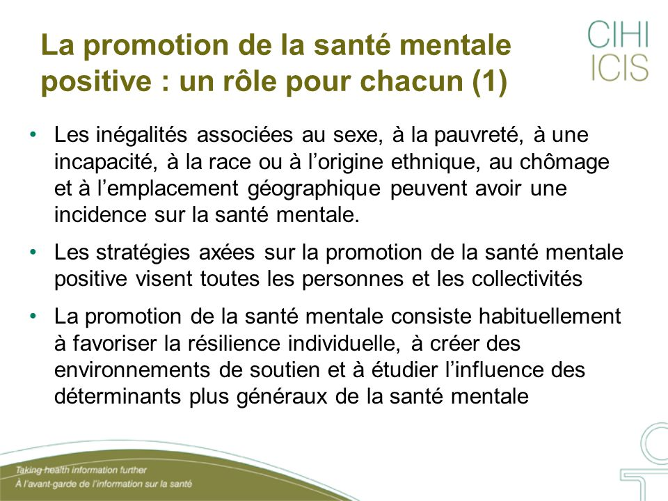 La promotion de la santé mentale positive : un rôle pour chacun (1)