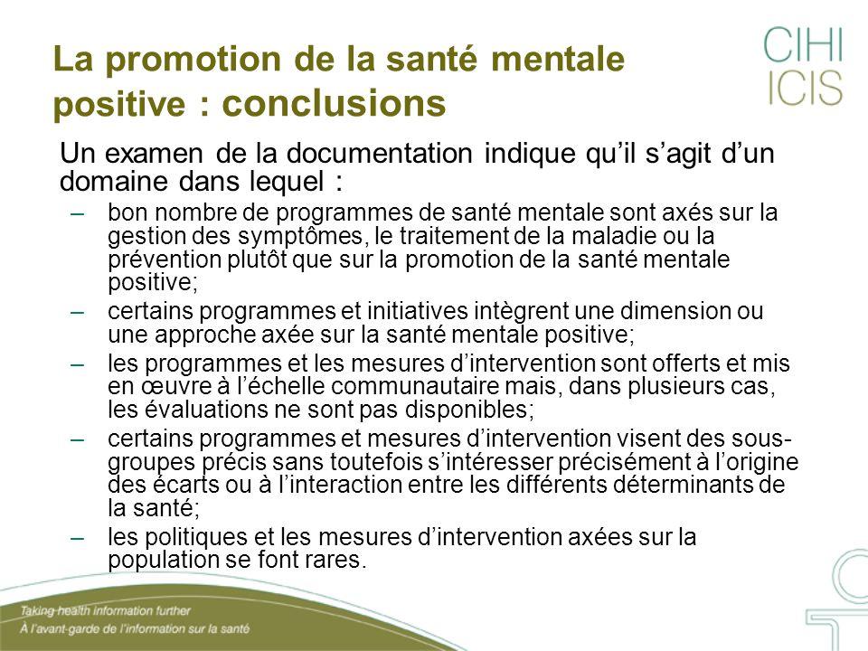 La promotion de la santé mentale positive : conclusions