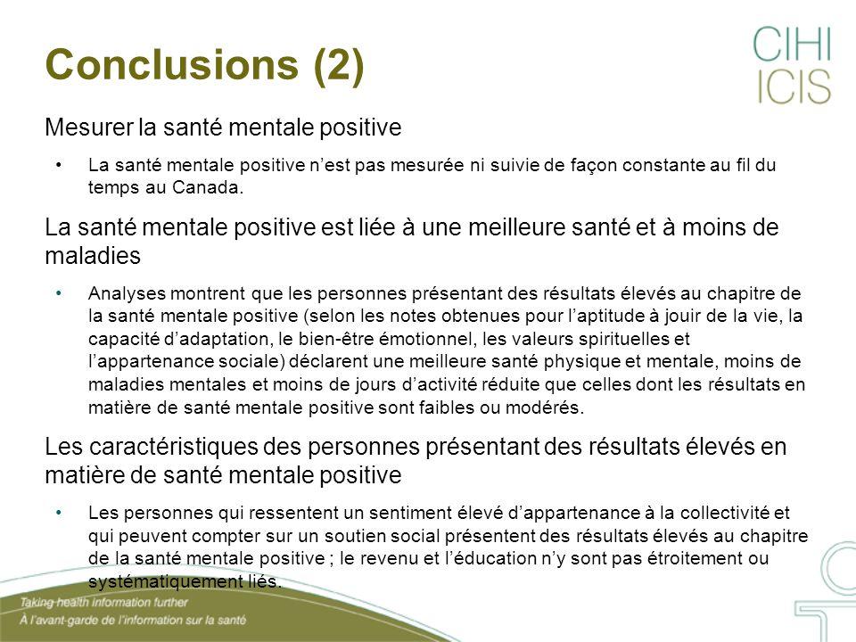 Conclusions (2) Mesurer la santé mentale positive