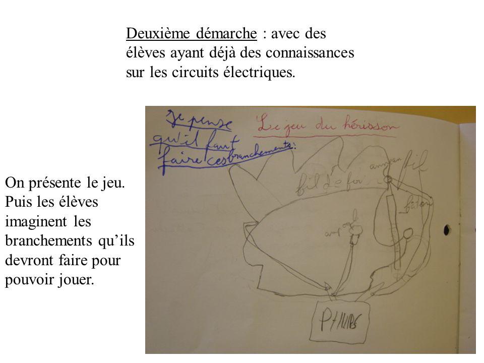 Deuxième démarche : avec des élèves ayant déjà des connaissances sur les circuits électriques.