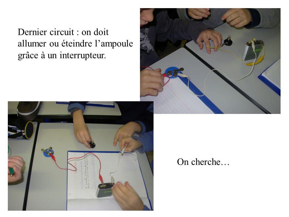 Dernier circuit : on doit allumer ou éteindre l'ampoule grâce à un interrupteur.