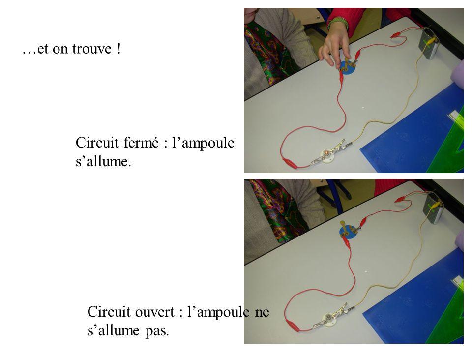 …et on trouve ! Circuit fermé : l'ampoule s'allume. Circuit ouvert : l'ampoule ne s'allume pas.