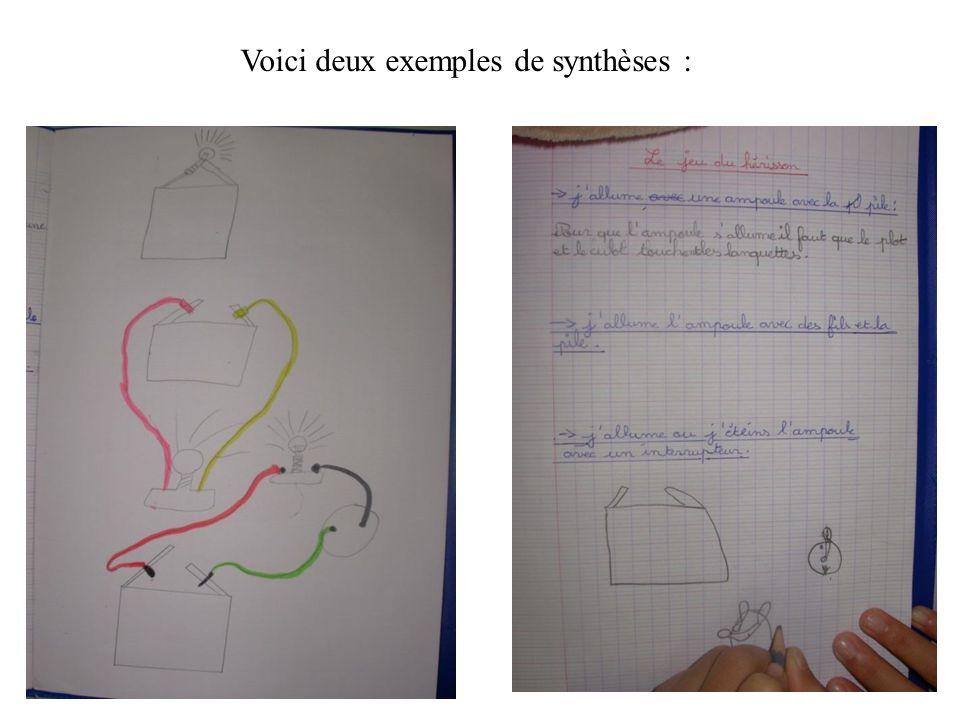 Voici deux exemples de synthèses :