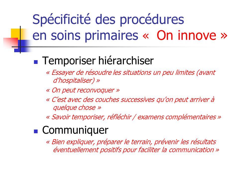 Spécificité des procédures en soins primaires « On innove »