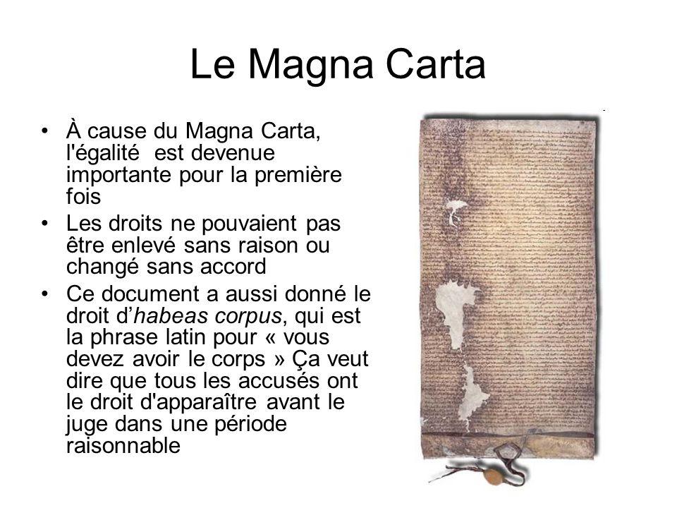Le Magna Carta À cause du Magna Carta, l égalité est devenue importante pour la première fois.
