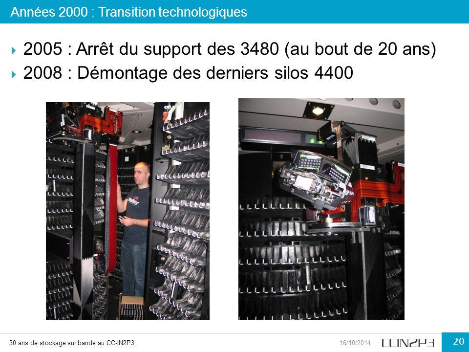 2005 : Arrêt du support des 3480 (au bout de 20 ans)