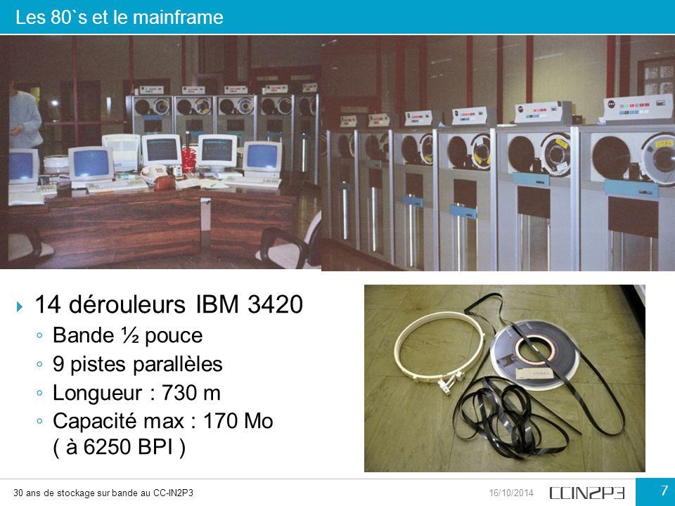 14 dérouleurs IBM 3420 Bande ½ pouce 9 pistes parallèles