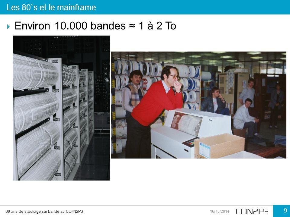 Environ 10.000 bandes ≈ 1 à 2 To Les 80`s et le mainframe