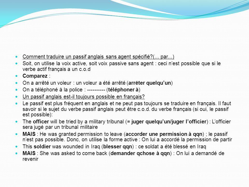 Comment traduire un passif anglais sans agent spécifié (... par...)