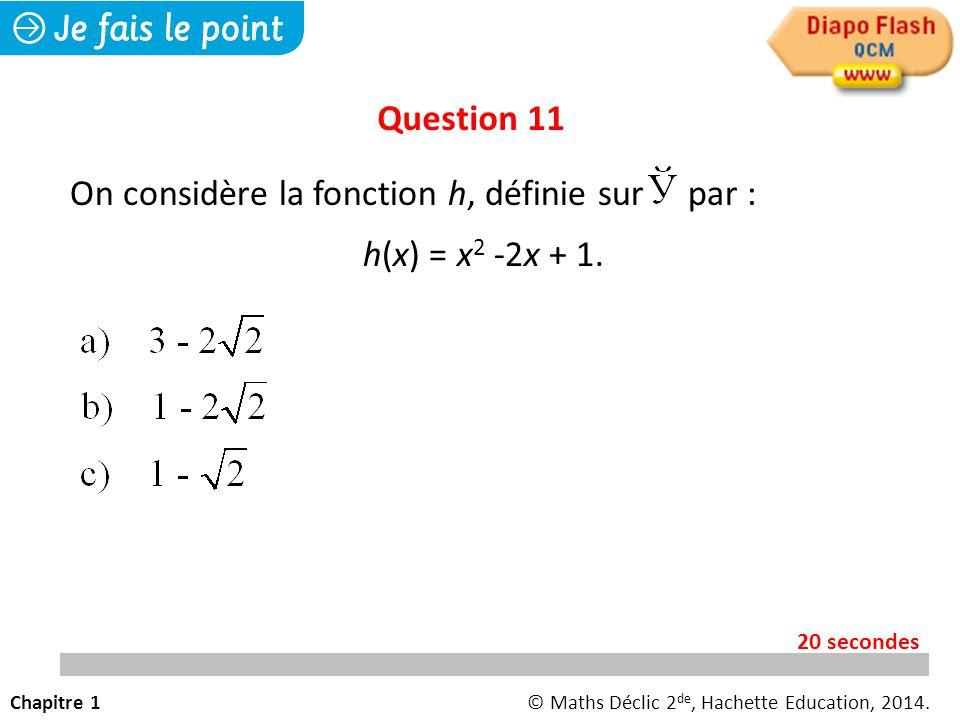On considère la fonction h, définie sur par : h(x) = x2 -2x + 1.