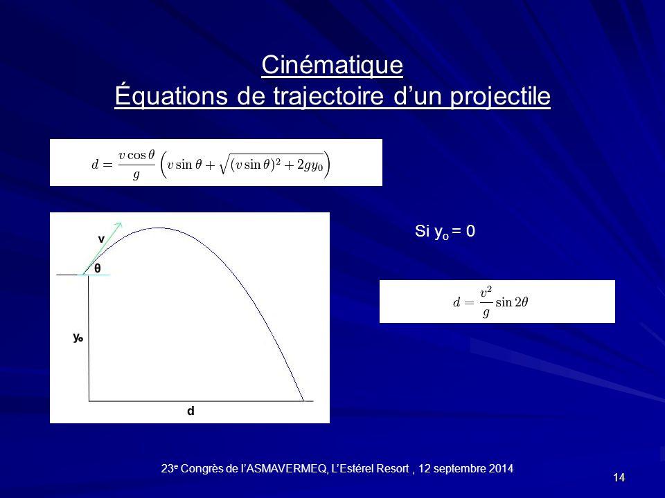 Équations de trajectoire d'un projectile