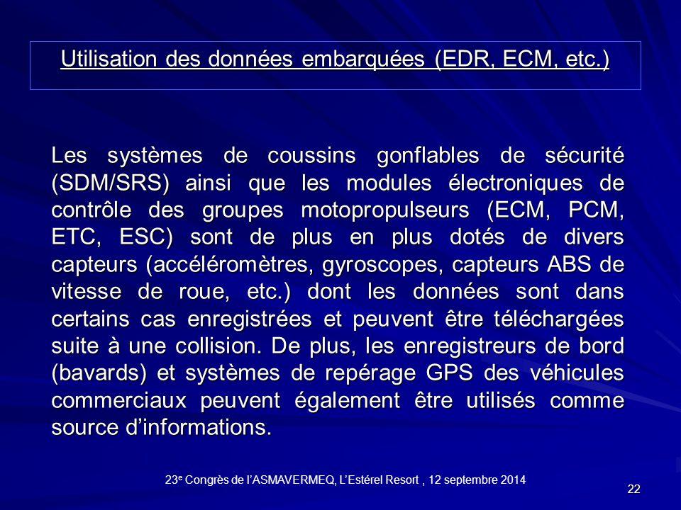 Utilisation des données embarquées (EDR, ECM, etc.)