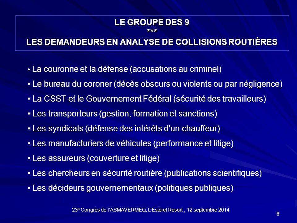 Le groupe des 9 *** les demandeurs en analyse de collisions routières