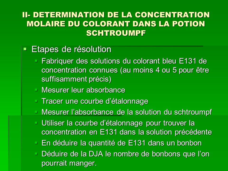 II- DETERMINATION DE LA CONCENTRATION MOLAIRE DU COLORANT DANS LA POTION SCHTROUMPF