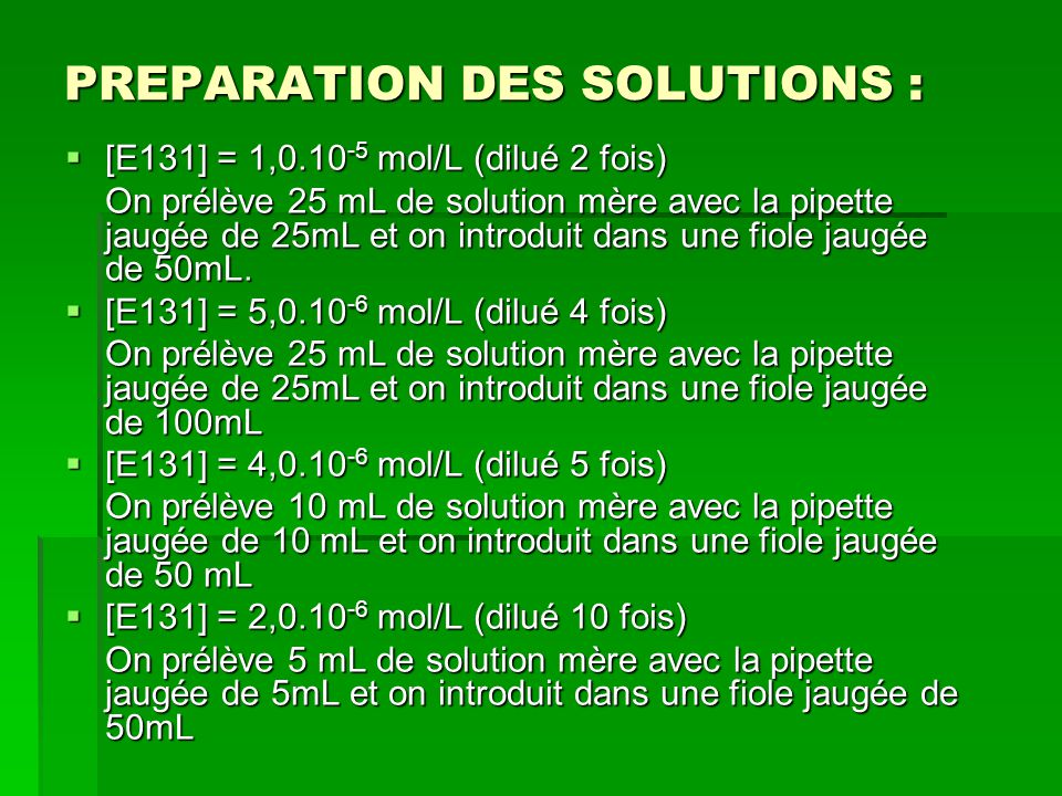PREPARATION DES SOLUTIONS :