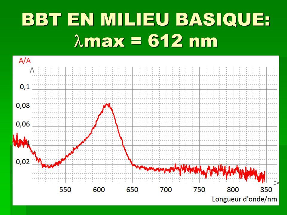 BBT EN MILIEU BASIQUE: max = 612 nm