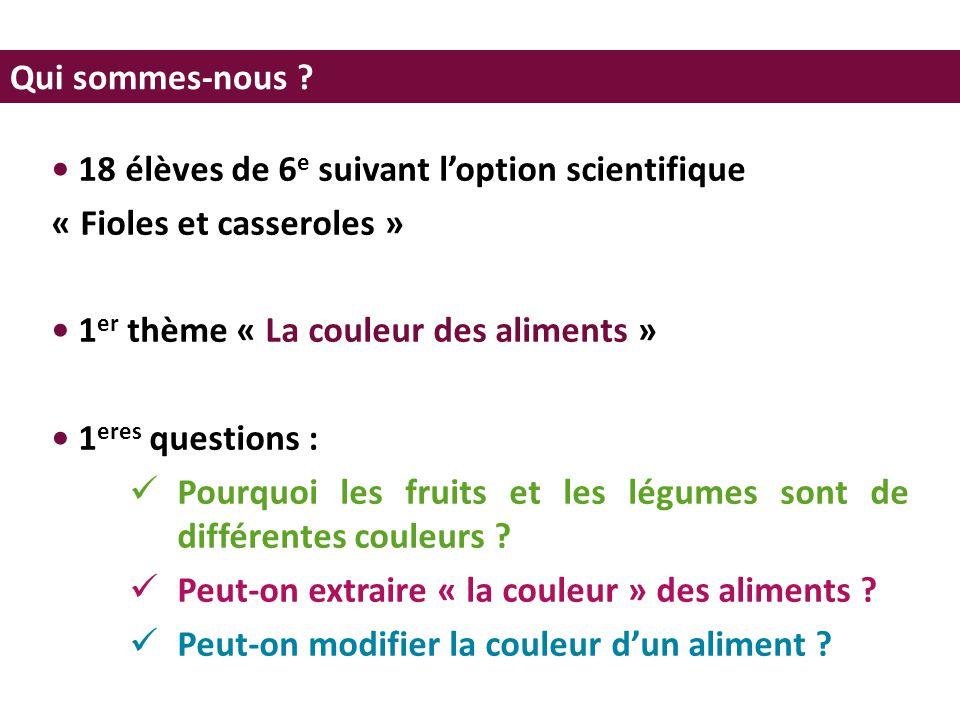 • 18 élèves de 6e suivant l'option scientifique