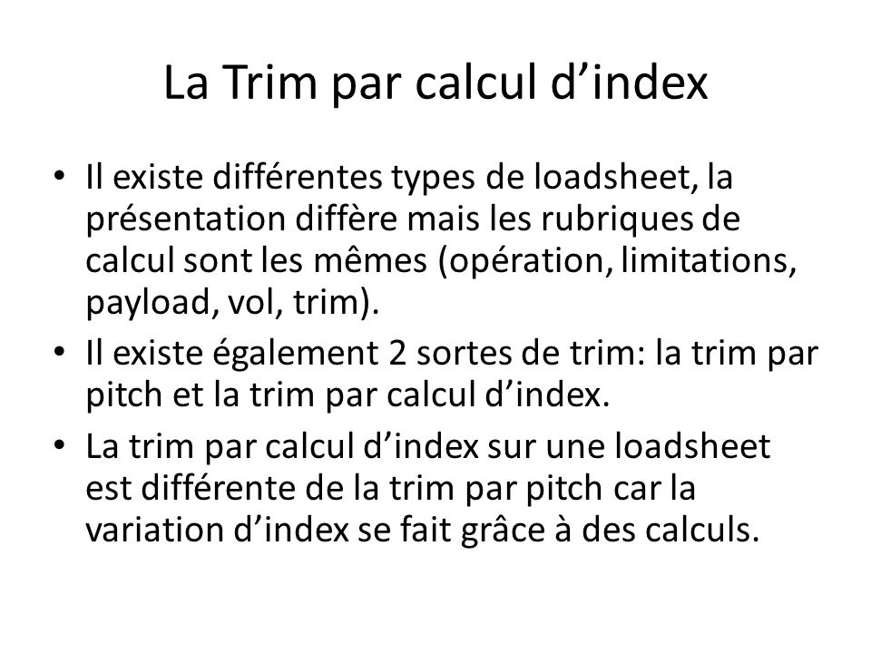 La Trim par calcul d'index