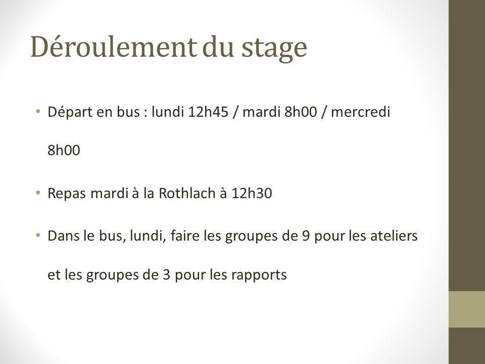Déroulement du stage Départ en bus : lundi 12h45 / mardi 8h00 / mercredi 8h00. Repas mardi à la Rothlach à 12h30.