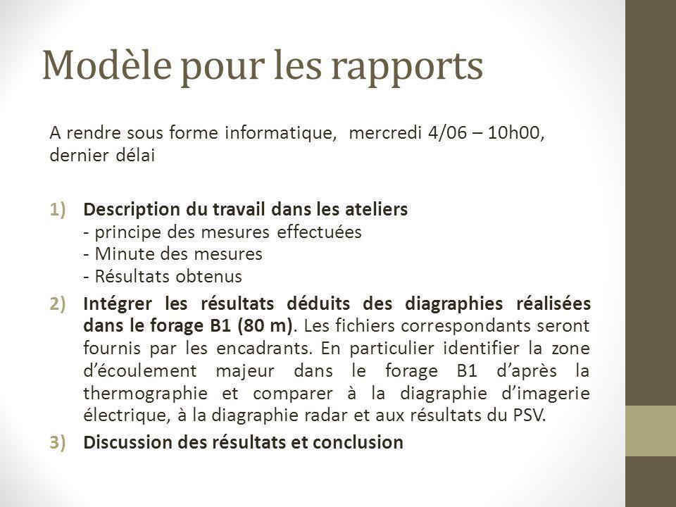 Modèle pour les rapports
